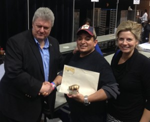 Bob Nueske, Hipolito Sanchez - winner of the BFC 2014 Nueske's Amateur Bacon Cookoff, & Tanya Nueske
