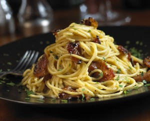 Spaghetti Carbonara made with Applewood Smoked Pepper-Coated Bacon